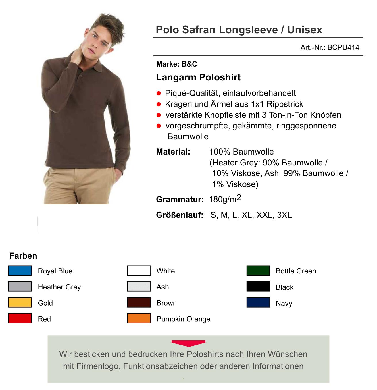 B&C Langarm Poloshirt Safran