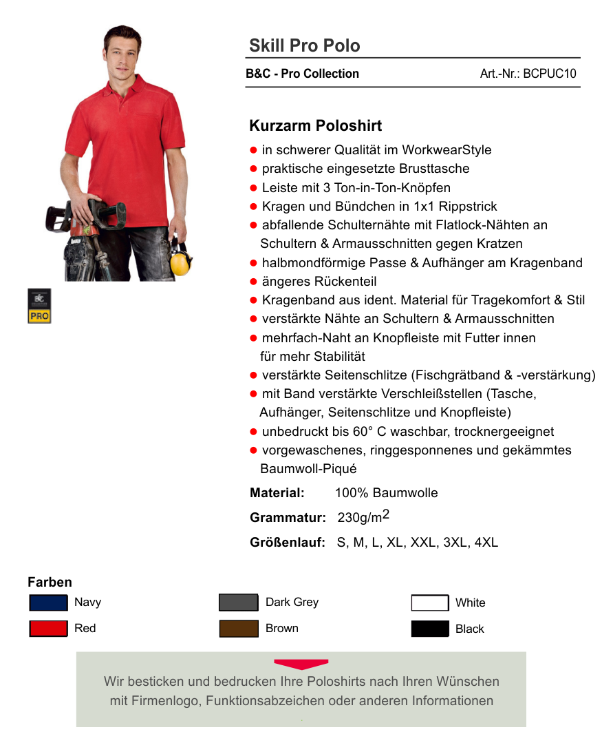 B&C Herren Kurzarm Poloshirt